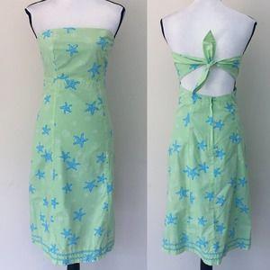 Lilly Pulitzer Starfish Green Blue Tie Back Dress